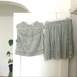Skirt and Top! Seafoam green, lace, sz L